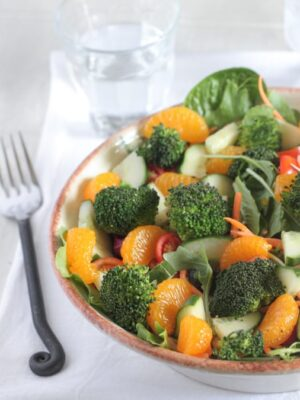 Roasted Broccoli Mandarine Sesame Ginger Salad