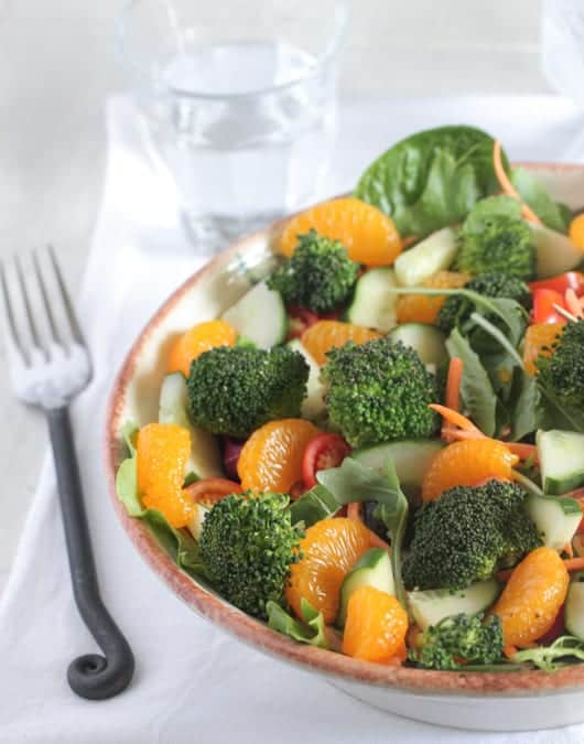 Roasted Broccoli Mandarin Sesame Ginger Salad