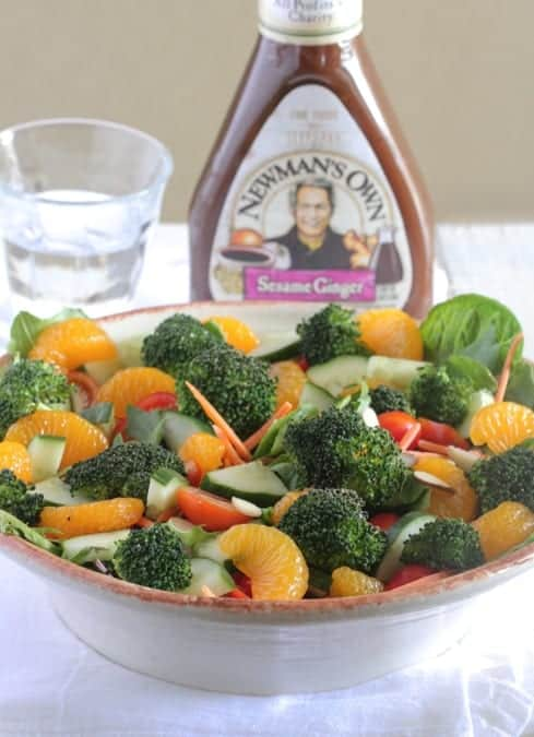 Roasted Broccoli Mandarin Sesame Ginger Salad
