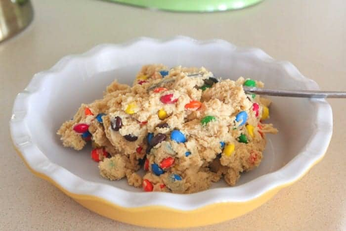 M&M Cookie Crusted Peanut Butter Pie