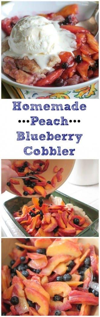 1 Homemade Peach Blueberry Cobbler