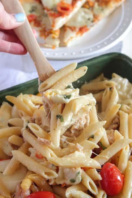 Chicken Caprese Pasta Bake - Picky Palate