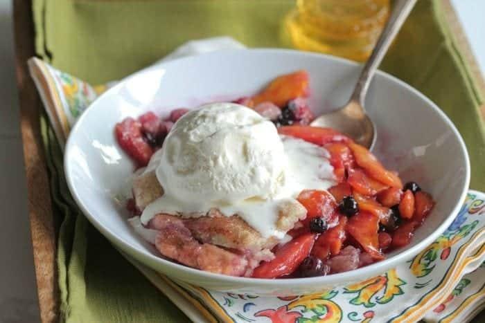 Homemade Peach Berry Cobbler