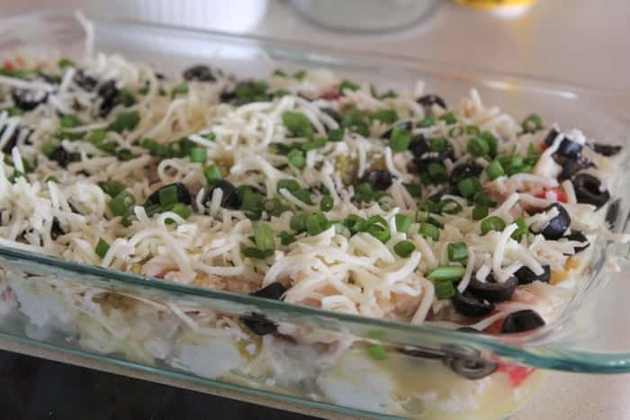 Mexican 7 Layer Mashed Potato Bake