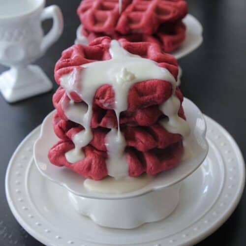 Cream Cheese Iced Red Velvet Waffle Rolls Picky Palate