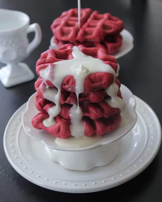 Cream Cheese Iced Red Velvet Waffle Rolls