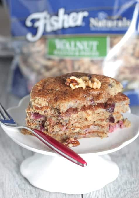 Whole Wheat Cherry Walnut Buttermilk Pancakes