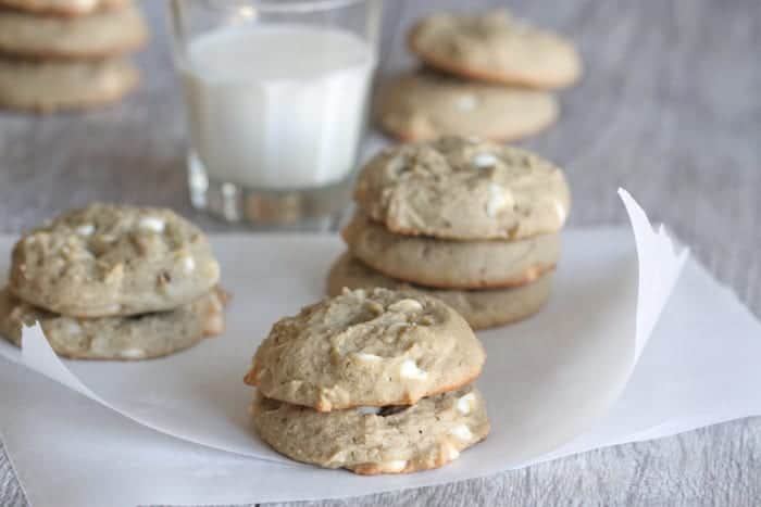 White Chip Blueberry Cream Cheese Peanut Butter Cookies