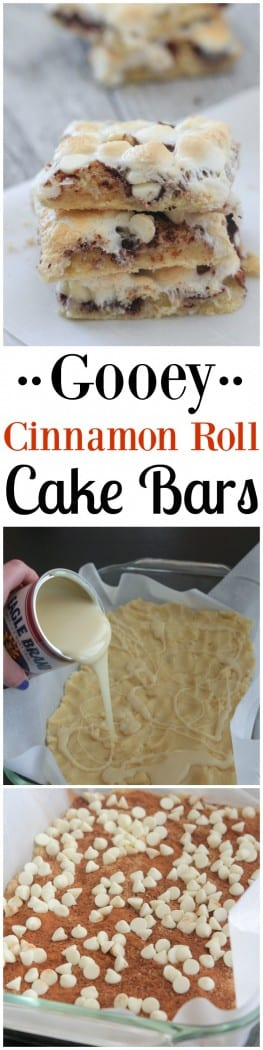Gooey Cinnamon Roll Cake Bars