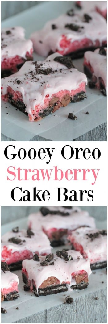 Gooey Oreo Strawberry Cake Bars