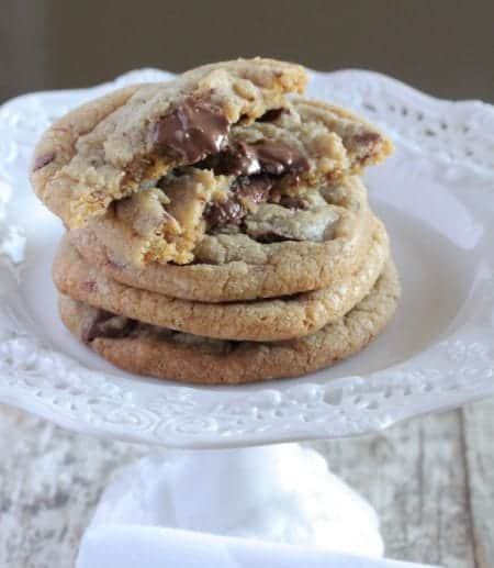 Crispy Brown Butter Chocolate Chip Cookies on a Cake Platter