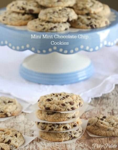 Small Stacks of Mini Mint Chocolate Chip Cookies