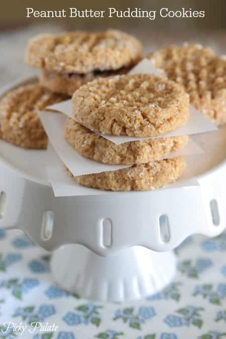Peanut Butter Pudding Cookies on a White Cake Stand
