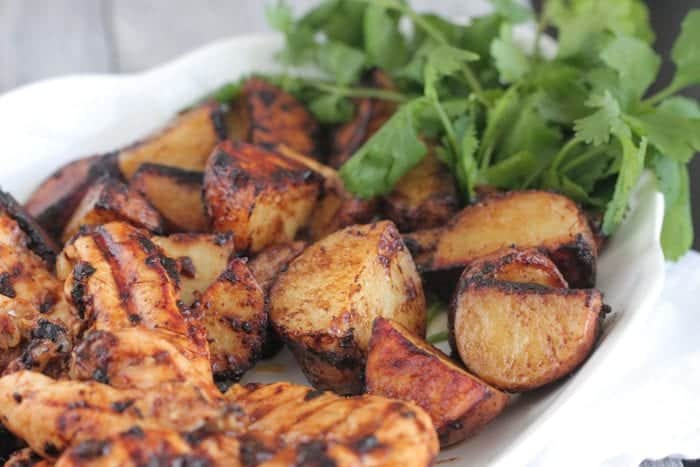 grilled chicken and potatoes