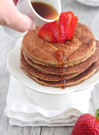 Whole Wheat Peanut Butter and Jelly Pancakes