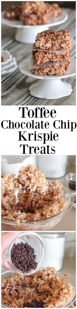 Toffee Chocolate Chip Krispie Treats