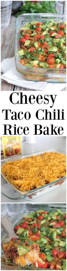 Cheesy Taco Chili Rice Bake