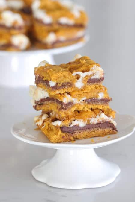 Pumpkin S'mores Cake Bars