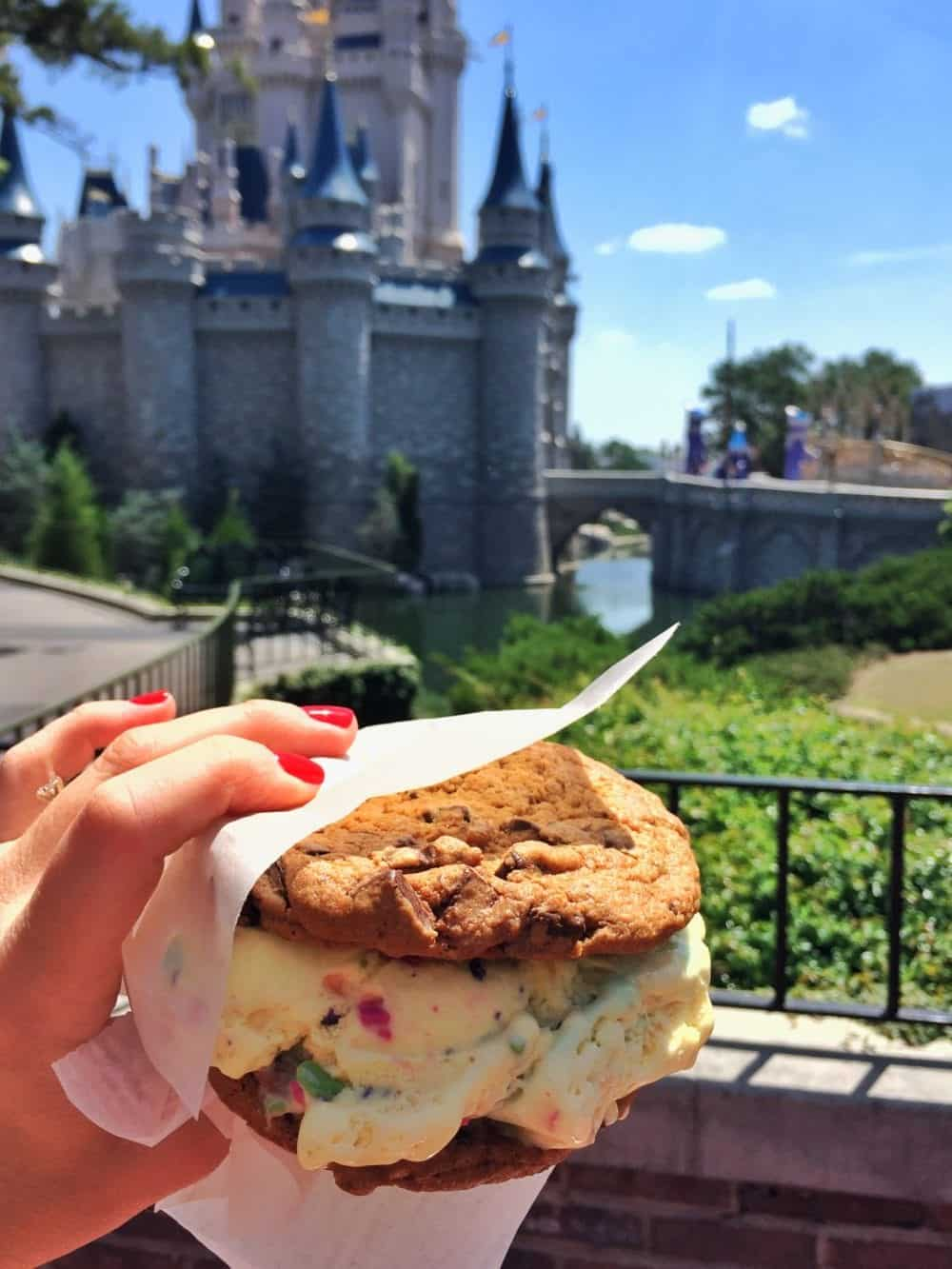 An Ice Cream Cookie Sandwich with the Disney Castle in the Background