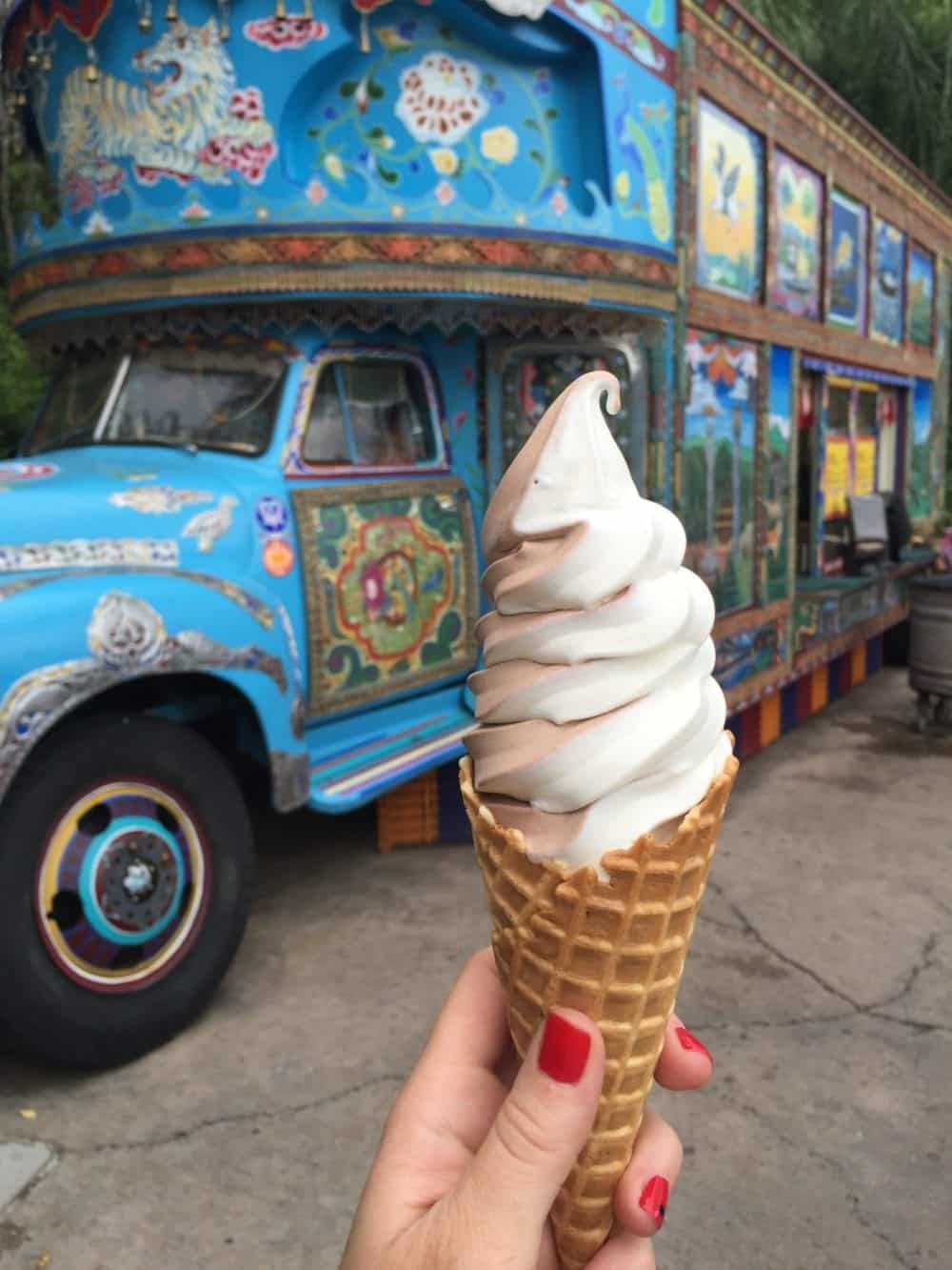 An Ice Cream Cone Filled with Vanilla and Chocolate Swirled Soft Serve