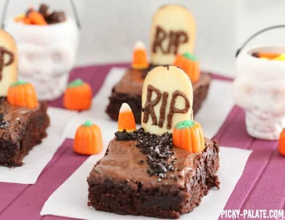 last minute halloween recipes fudgy graveyard brownies