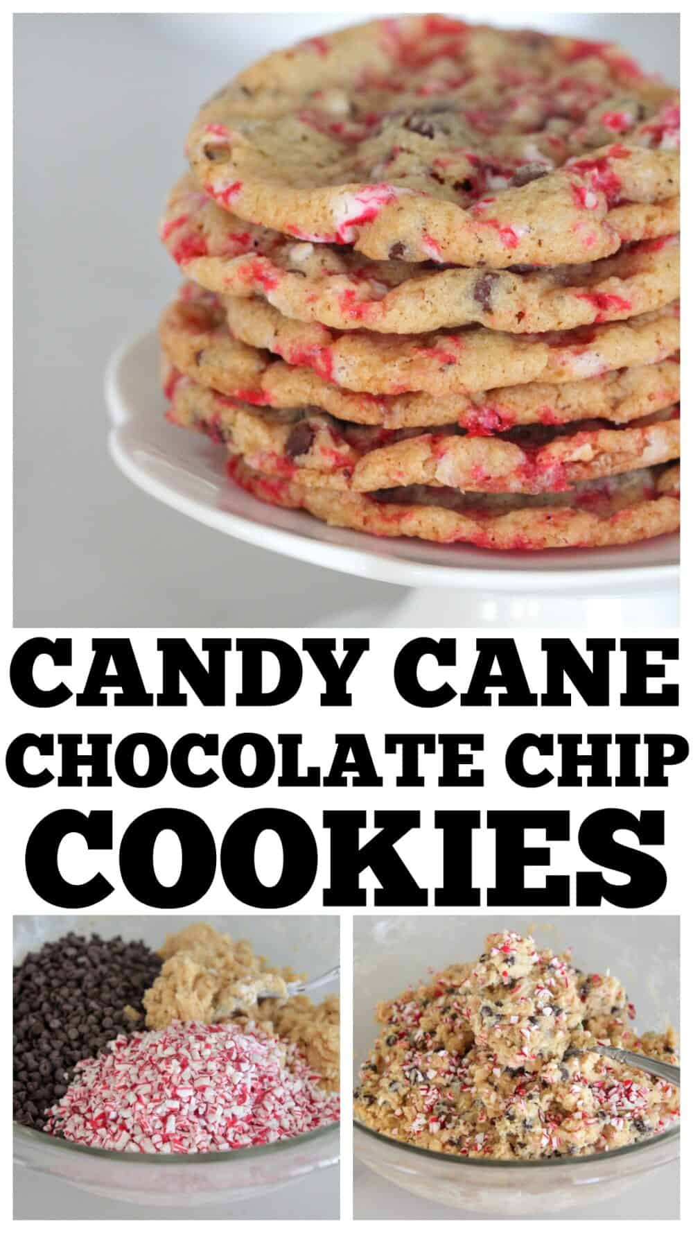 photo collage of candy cane cookies