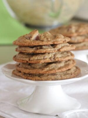 Stack of Bakery Style Oatmeal Chocolate Chip Cookies