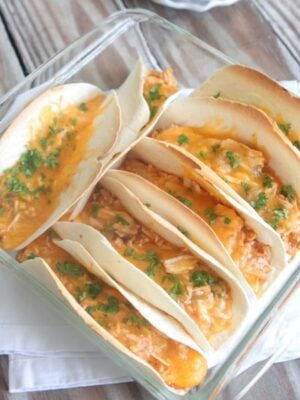 Chicken Enchilada Baked Soft Tacos