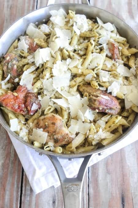 Pesto Parmesan Crispy Chicken Penne