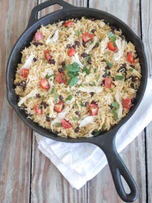 Salsa Verde Chicken Taco Rice Skillet