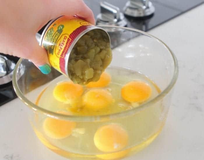 Taco Toasted Green Chili Scrambled Eggs