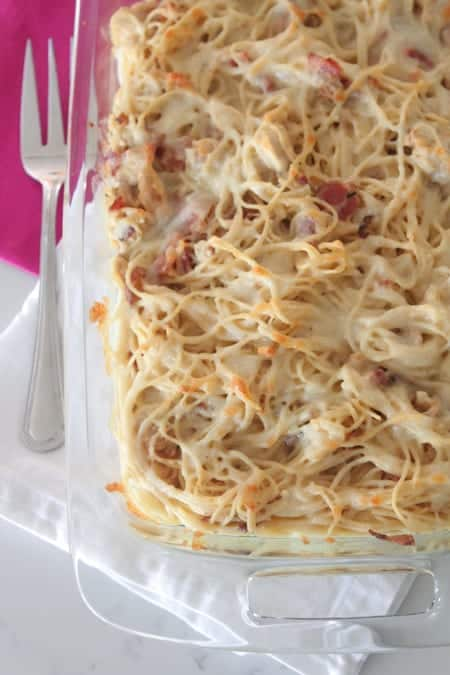 Creamy Chicken Bacon Baked Spaghetti
