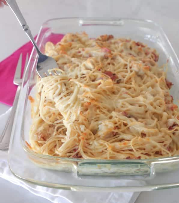 Creamy Chicken Bacon Baked Spaghetti