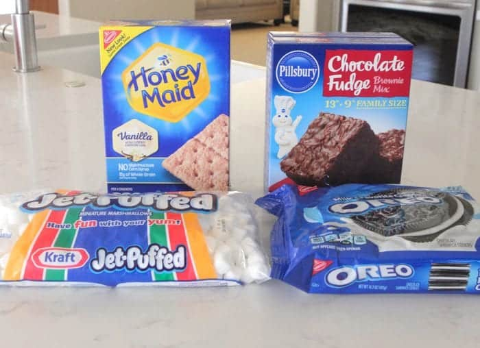 ingredients for Oreo S'mores Brownies