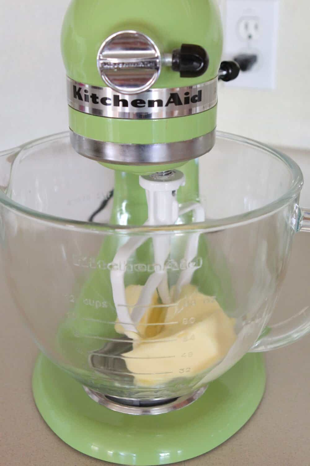 creaming butter in stand mixer