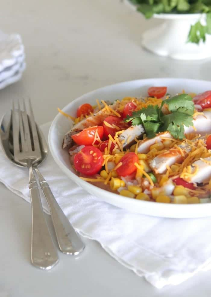Layered Chicken Enchilada Bowls