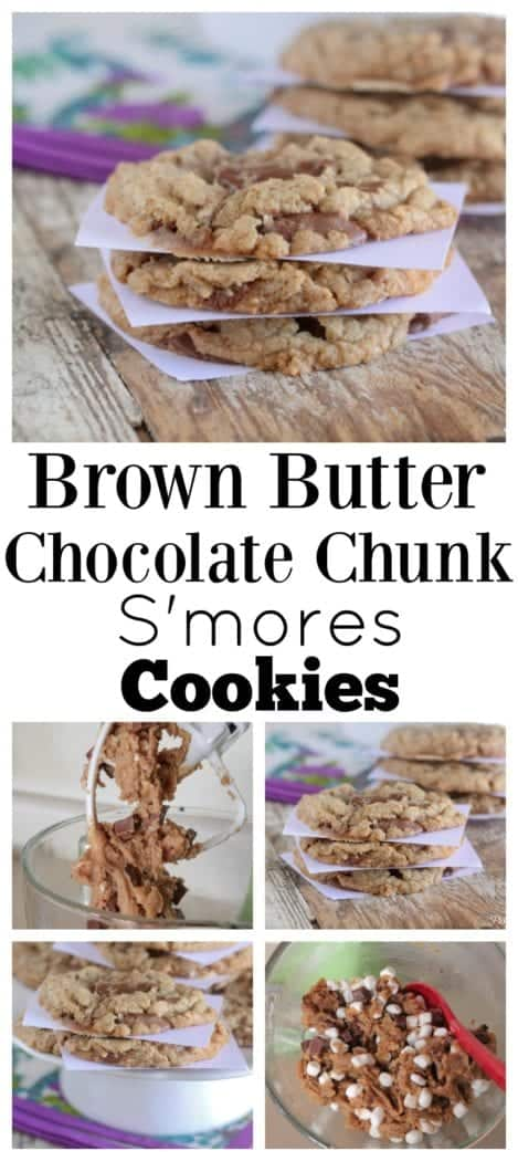 Brown Butter Chocolate Chunk S'mores Cookies