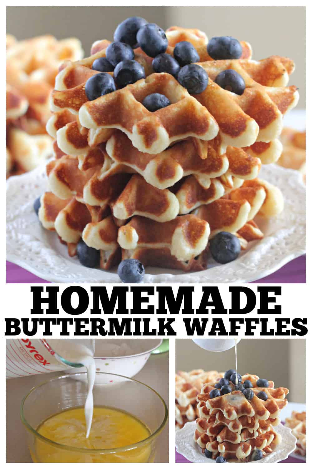 photo collage of homemade waffles