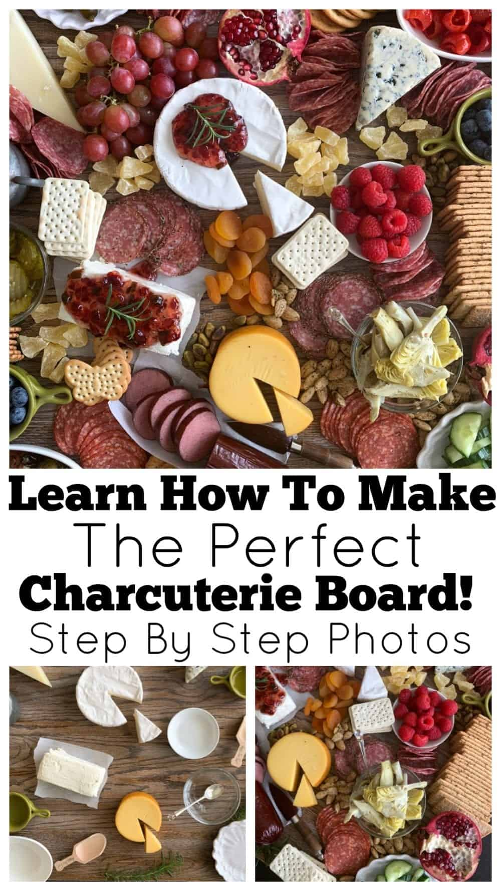 photo collage of charcuterie board