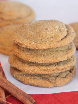 gingersnap cookies stacked