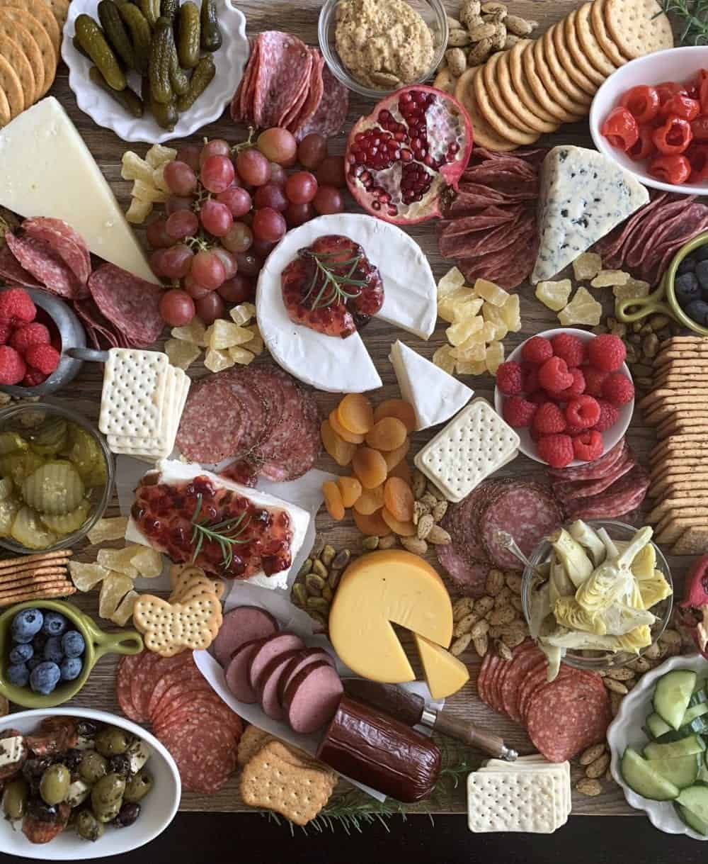 crackers added to charcuterie board