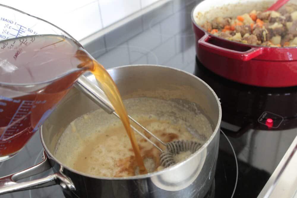 adding broth to roux