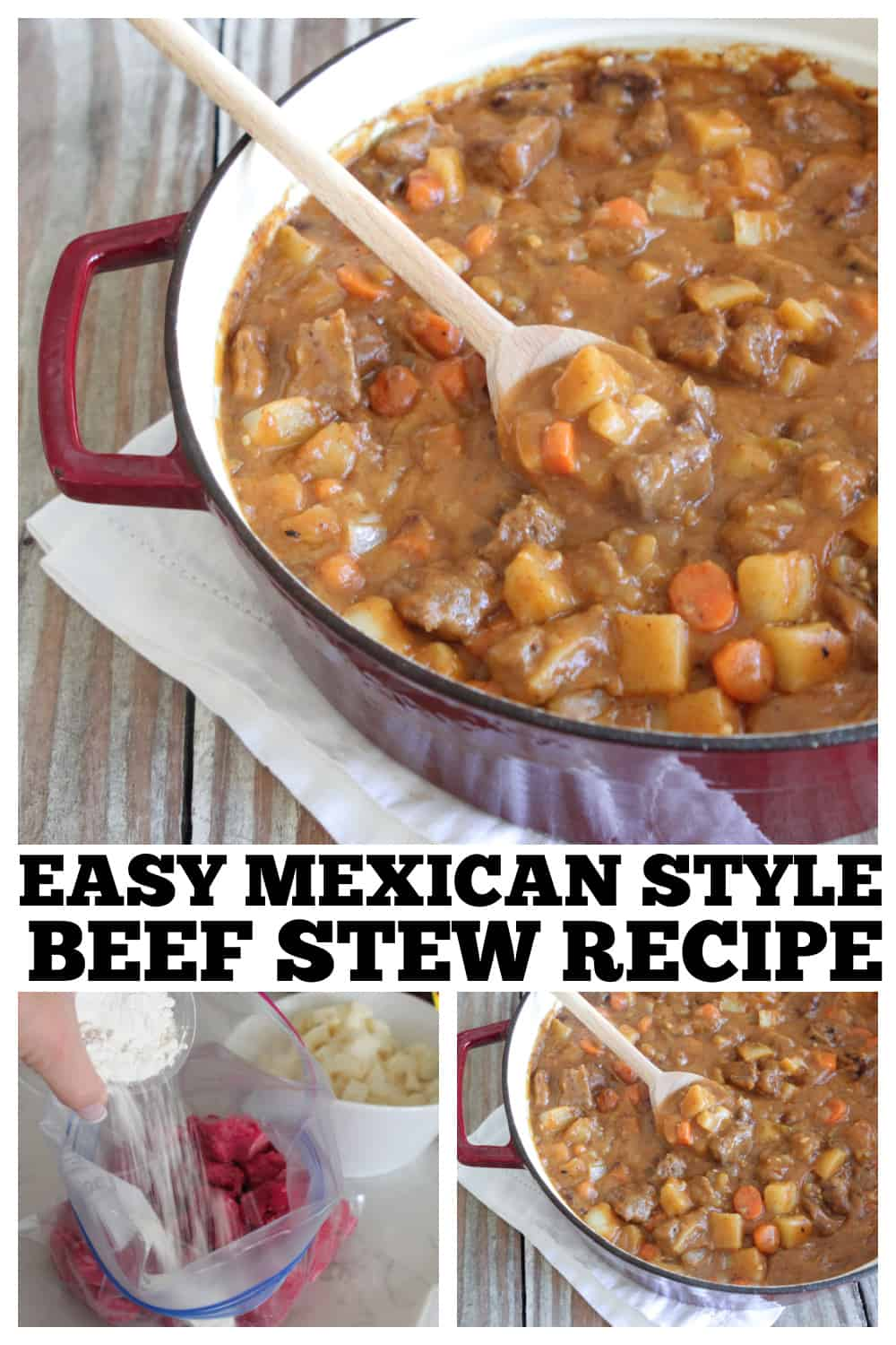 photo collage of beef stew recipe