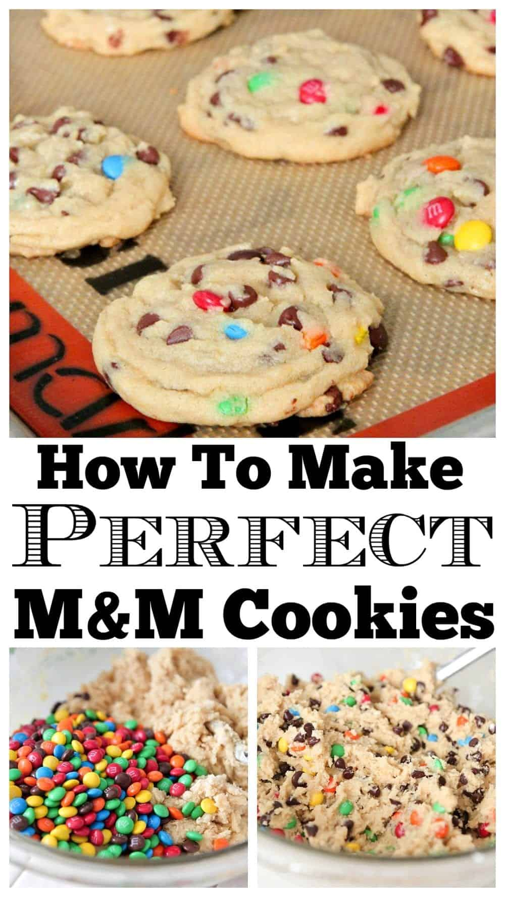 photo collage of m&m cookies