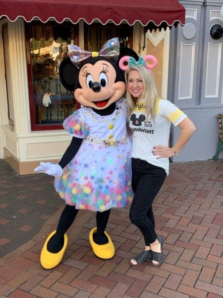 Jenny with Minnie Mouse at Disney World