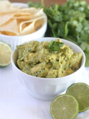 prepared homemade guacamole in serving bowl