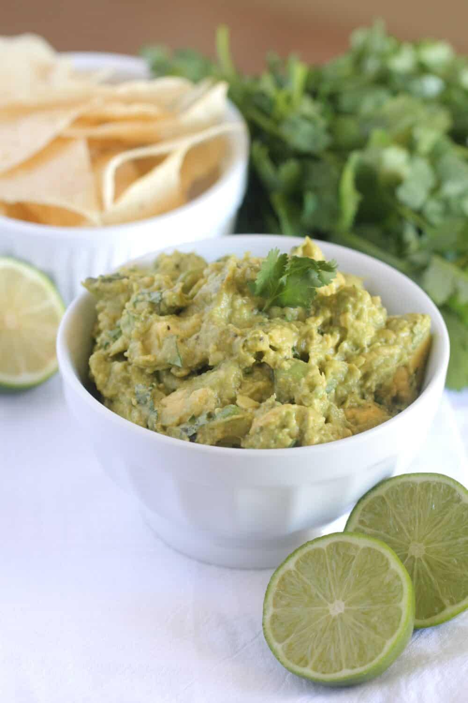 prepared homemade guacamole in serving bowl