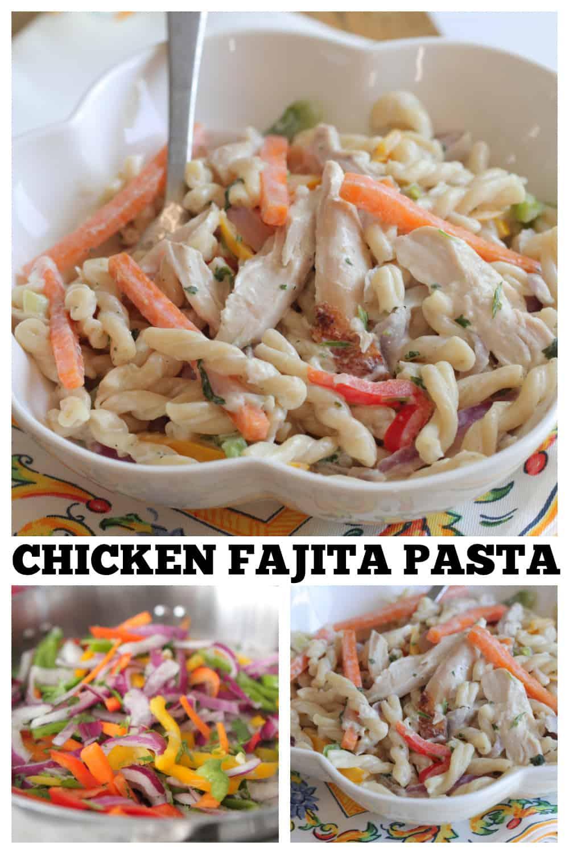 photo collage chicken fajita pasta