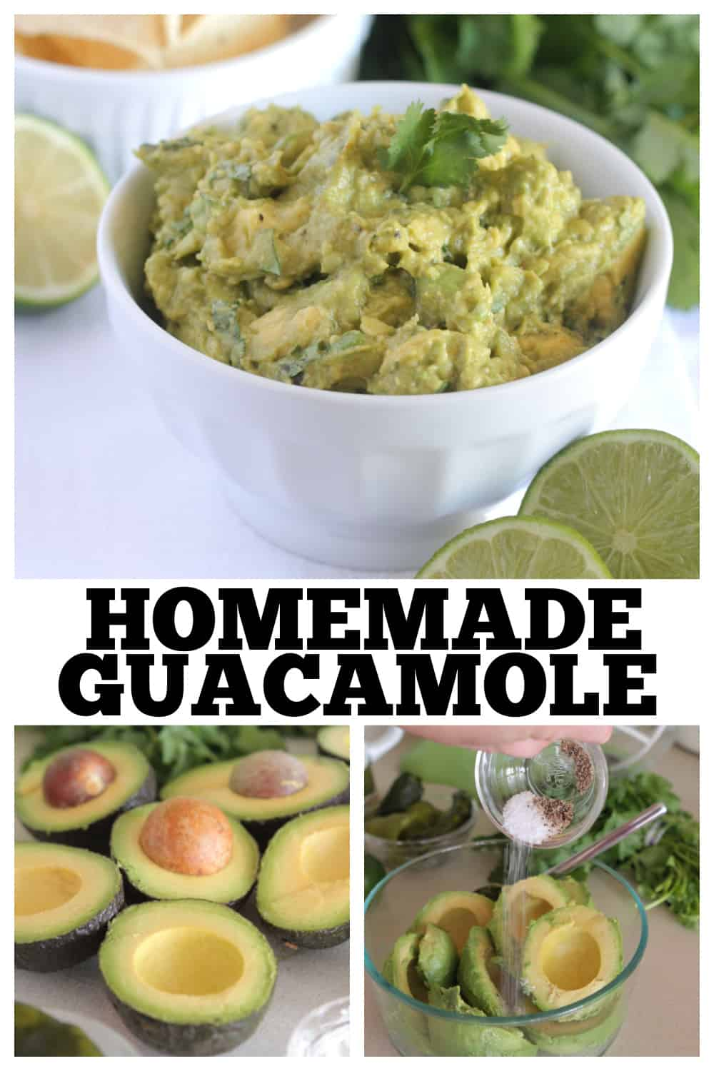 photo collage of homemade guacamole