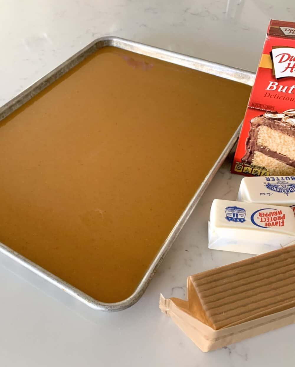 cake batter in half sheet pan